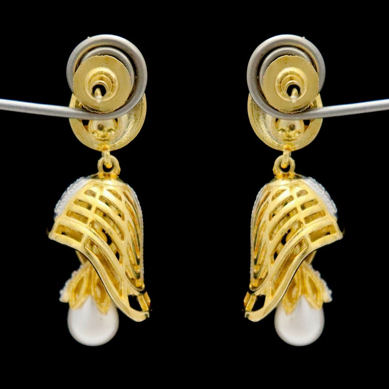 Indian Jewelry Earrings CZ Diamonds Pearls Gold Silver Plating Indian Bollywood Fashion Handmade Bridal Wedding Fashion Women Gift