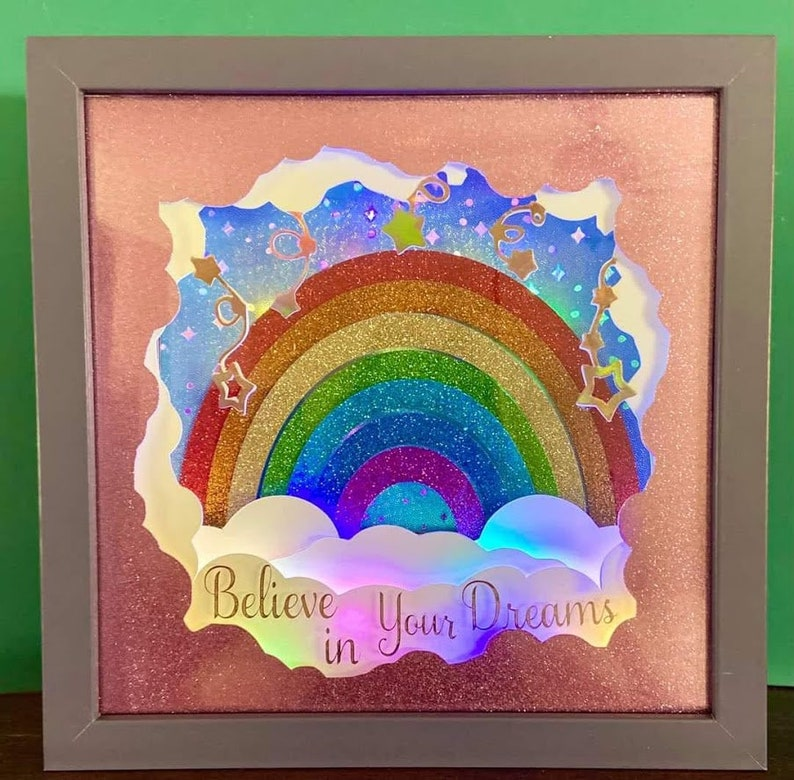 believe in your dreams rainbow sky pretty girl birthday shadow box light papercutting 3d shadowbox SVG PNG DXF digital commercial