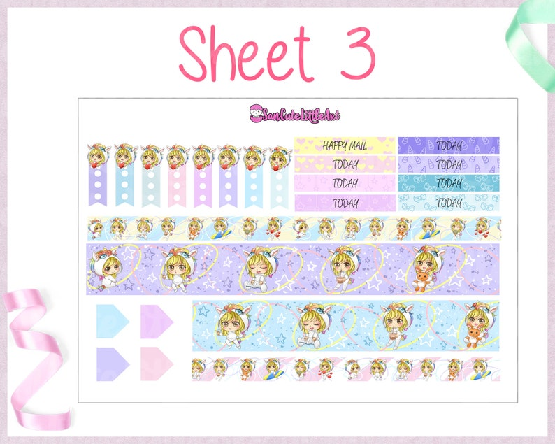 4 sheets mini weekly set for Erin Condren Planner  Planner sticker weekly kit  Cute chibi girl Unicorn weekly planner sticker Unicorn