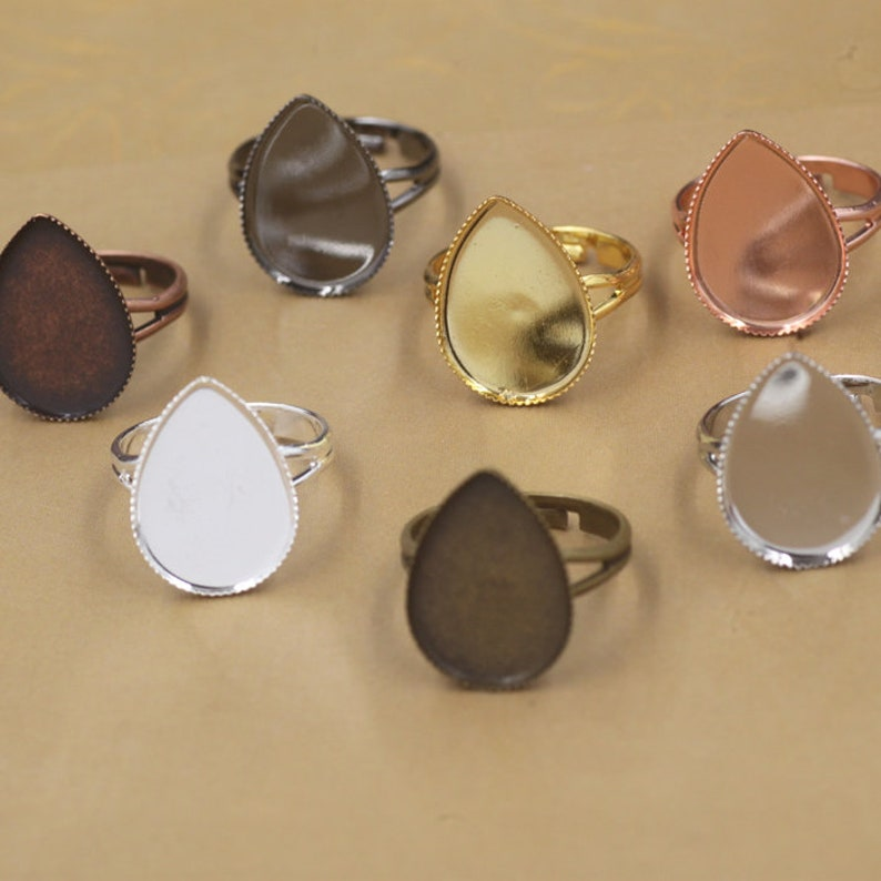 20pcs Ring Settings Water Drop Cabochon Bases Bezel Tray Fit 13x18mm18x25mm Cabochon Cameo DIY Finger Rings Findings