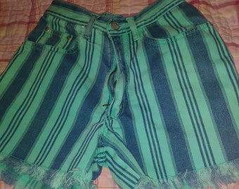 f5d6bf02508 Vintage Gitano womens mint striped denim shorts