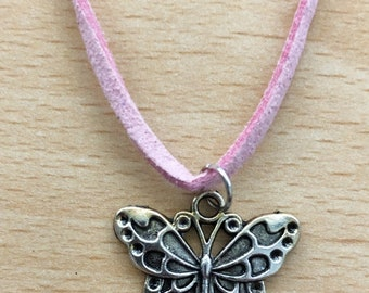 """19/"""" Hot Pink Velvet Necklace With Stainless Steel Skull And Crossbones Pendent"""