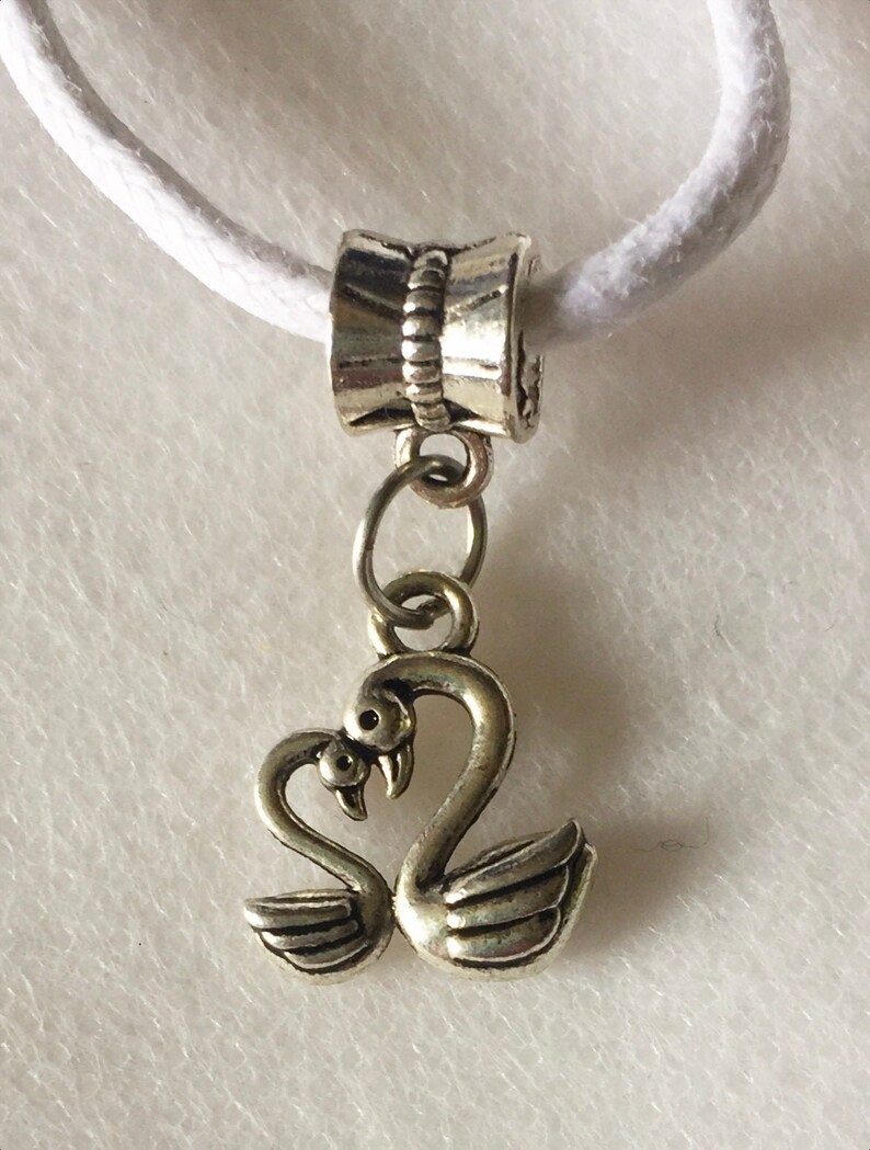 21 White Cord Necklace Stainless Steel Heart Swans