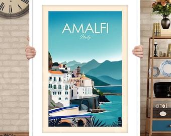 Amalfi Coast Italy Print - Italy Poster | Travel Poster | Travel Print | Amalfi Coast Art Print