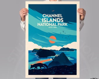 National Park Poster of Channel Islands, Established 1980 edition, Channel Islands National Park Art Print by Studio Inception Wall Decor