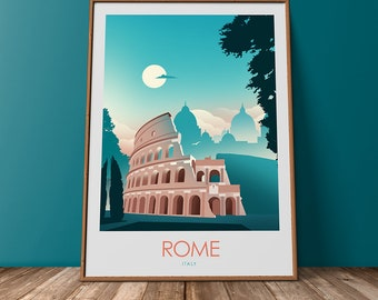 Rome Travel Print minimalist Travel Print Vintage Travel Poster Roma Print Retro Travel Poster Colosseum Rome