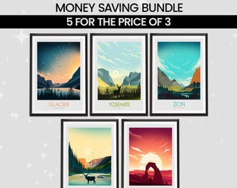 Money Saving Offer - Any 5 Prints of your Choice, Choose Your Size, Travel Poster, Travel Print, Art Prints, Art Gifts, National Park Print
