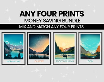 Money Saving Print Set - Any 4 Prints of your Choice, Choose Your Size, Travel Poster, Travel Print, Art Prints, Art Gifts, National Parks