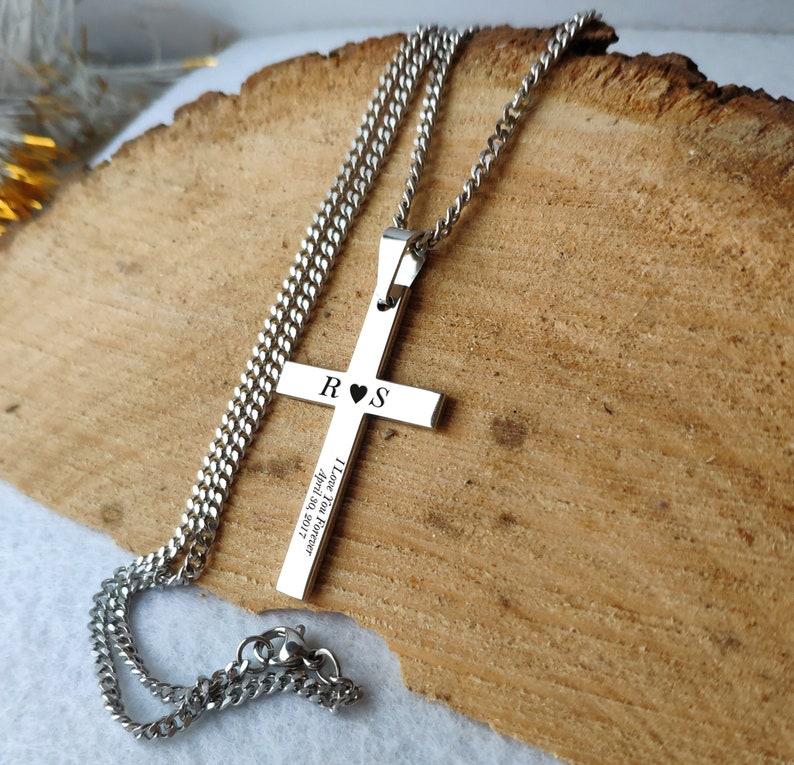 Men/'s Cross Necklace Cross Necklace Birthday Gift husband Cross Necklace Men/'s keepsake gifts boyfriend gift Custom Engraved Cross