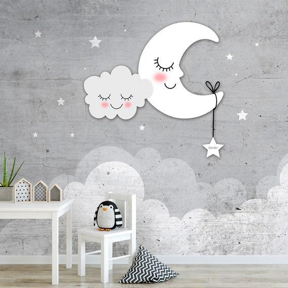 Eigen Foto Behang.Behang Sterren Maan Wolken Met Eigen Naam