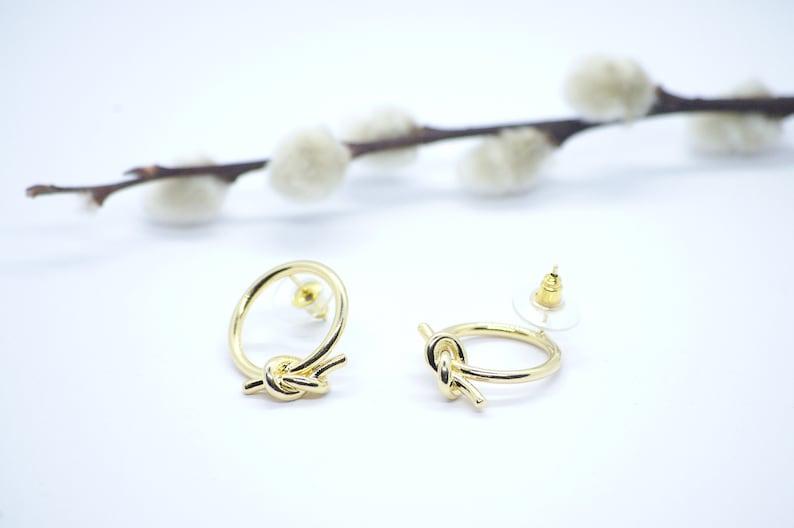 Round Gold Metal Hoop Knot Ear Stud Earrings