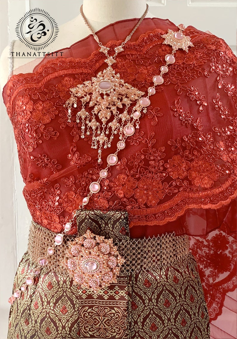 Thai Traditional Wedding Dress With Beautiful Lace Sash Asian Fashion