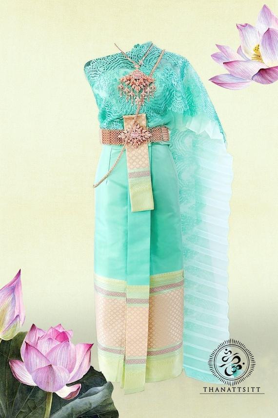 Thai Traditional Wedding Dress Set With Beautiful Lace Sash Etsy