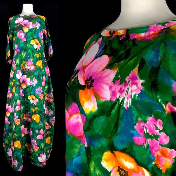 Vintage 1960's Hawaiian Dress, Size XL, Green with