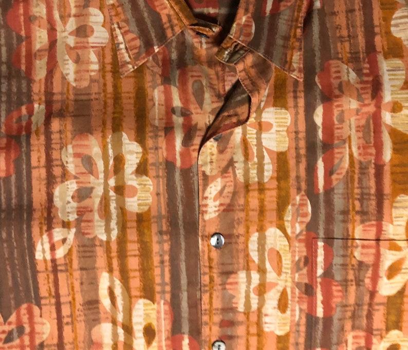 Orange Beige Designs Hawaiian Shirt by Tori Richard Honolulu Size XXLarge Made in Hawaii with Brown
