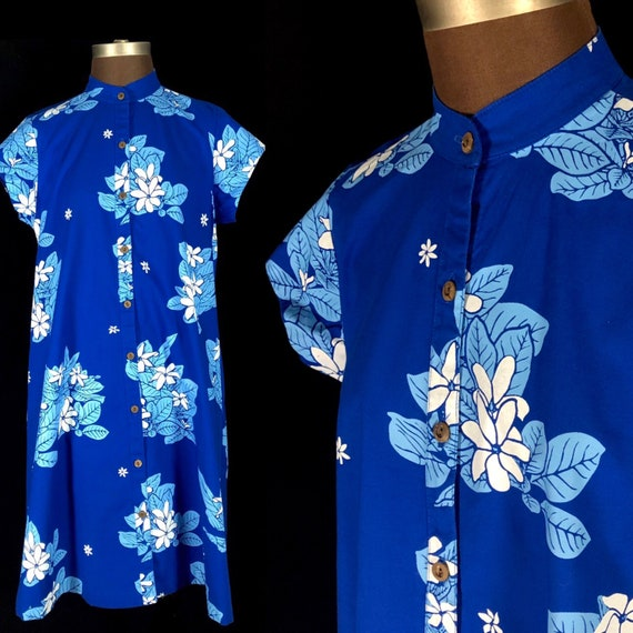 Vintage Blue Hawaiian Dress / Tea Timer, Size Medi