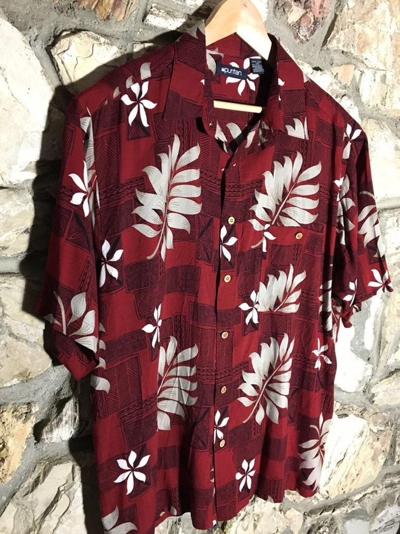 Camicia Hawaiana Rosso Hibiskus Grande Bianco