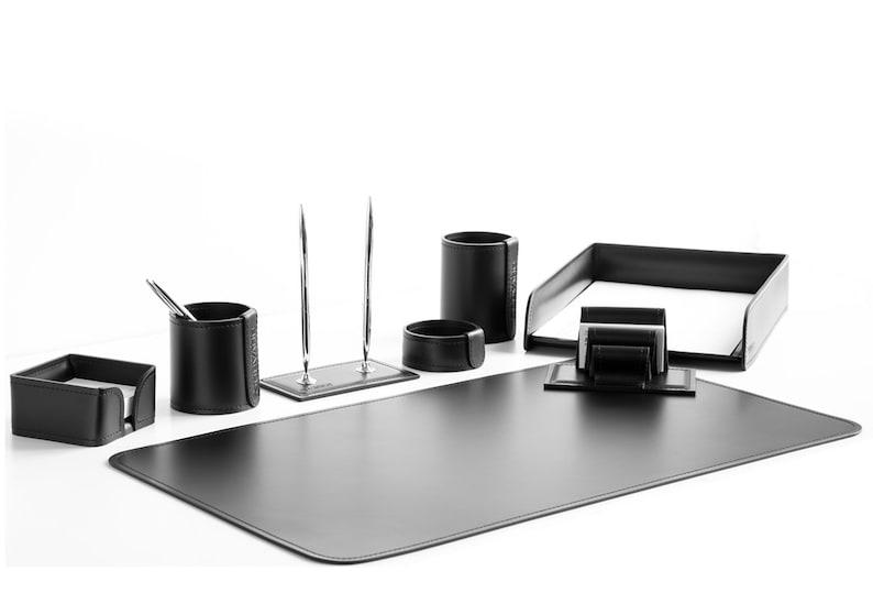 Beau Black Leather Desk Set | Gray Office Desk Set | Brown Leather Table Set |  Beige Lux Desk Set | Premium Desk Pad | White Desk Set