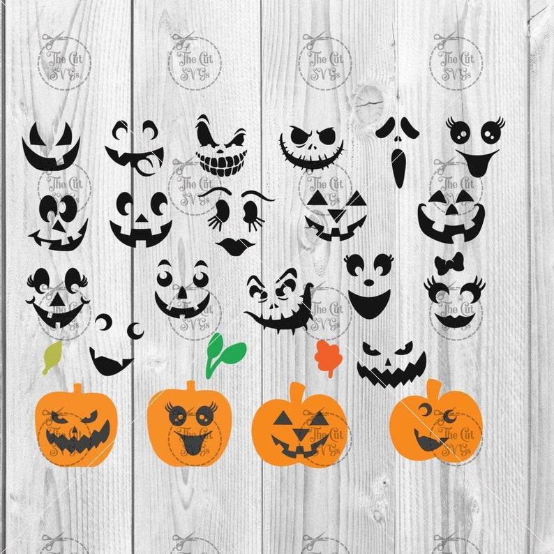 Pumpkin Face svg Jack O Lantern Faces Cute Halloween Faces image 0