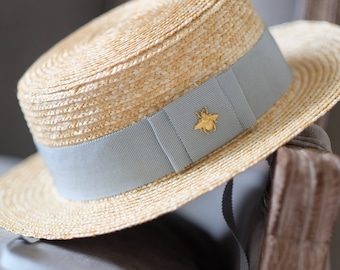 c891202cedde7 Kids straw boater hat with grosgrain band and bee accent (for 5-8 y.o.)