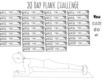 graphic relating to Printable Plank Challenge identify Plank issue Etsy