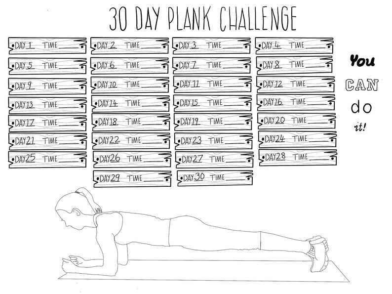 photo about Printable Plank Challenge called Printable 30 Working day Plank Issue Tracker