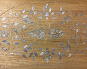Solid Oak Wood Tabletop Inlaid Mother of Pearl