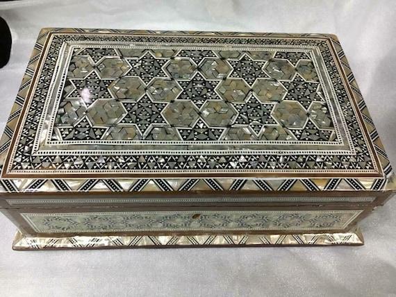 Egyptian Handmade Wood Jewelry Box Inlaid Shell