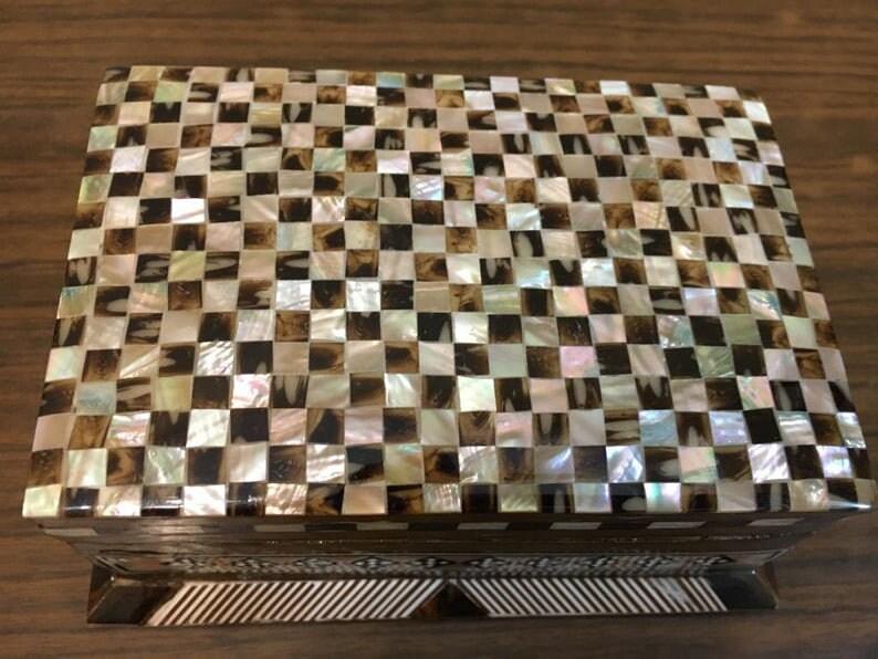 Handmade Wood Jewelry Box Inlaid Shell