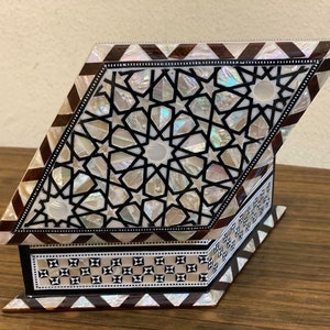 7.2x5 Egyptian Jewelry Box Handmade Inlaid Mother of Pearl