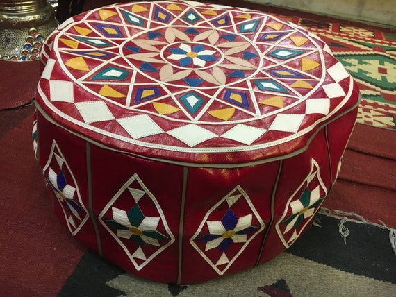 Astonishing Large Moroccan Handmade Pouf Ottoman Footstool Poof Pouffe Pooff Natural Leather Theyellowbook Wood Chair Design Ideas Theyellowbookinfo