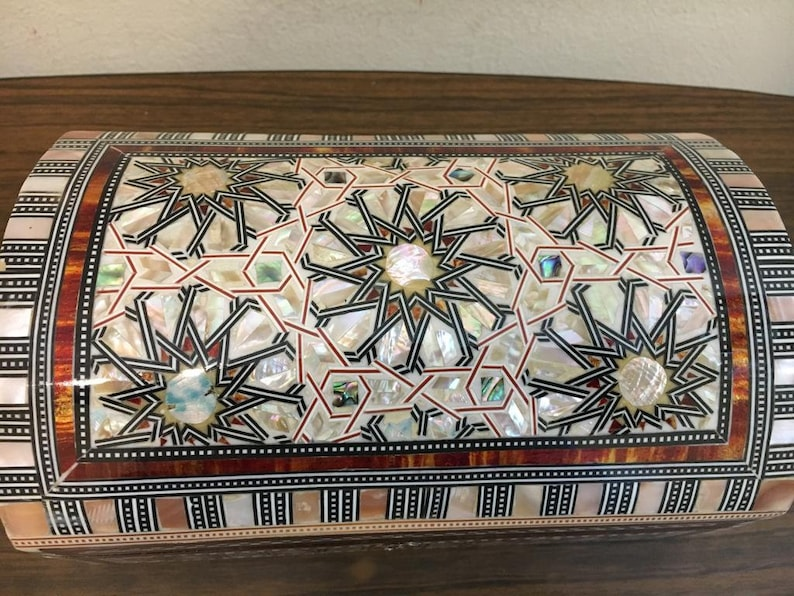 Egyptian Jewelry Box Handmade Inlaid Mother of Pearl 8x6