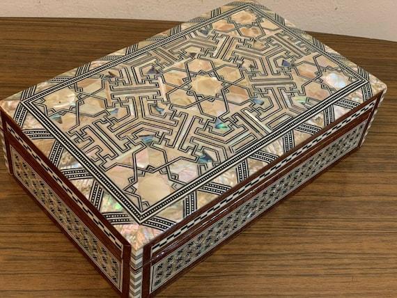 Egyptian Islamic Mother of Pearl Mosaic Inlaid Wood Jewelry Box Handmade