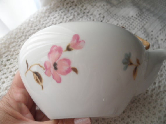 Vintage Japanese Tea Pot Seyei Fine China Pink SpringSummer Flowers