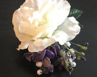 White Rose Hair Clip Etsy