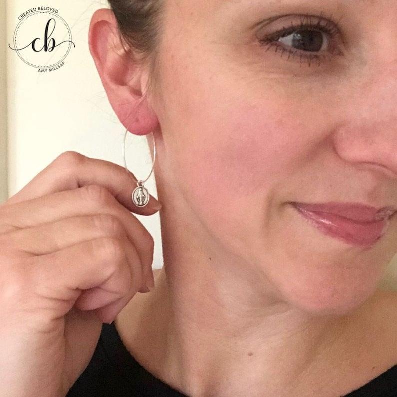 Miraculous Medal Hoop Earrings Silver image 0