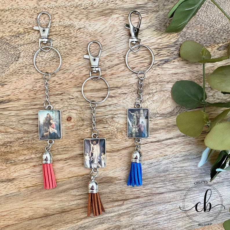 Antique Silver Custom Keychains Available Tassel Keychains  Pendant Keychains  Artwork Keychains Religious Keychain