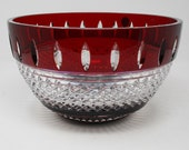 Waterford Irish Lace 10 quot Bowl, Ruby and Clear Crystal, Retired