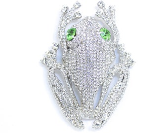 f1335404c White Tree Frog Rhinestone Brooch Frog Pin, Frog Embellishment, Frog Pendant,  Frog Jewelry, Frog Collector