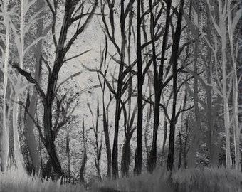 """Acrylic on Canvas """"Dark Forest""""  16x20 by Lilly Von Lane"""