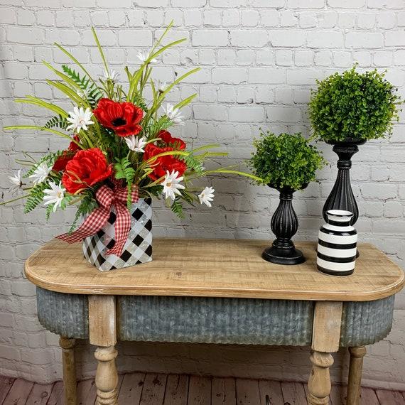 Farmhouse Floral Arrangement Farmhouse Decor Summer Floral Arrangement Red Black And White Arrangement Farmhouse Kitchen Decor Florals