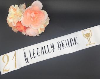 Legally drunk sash | Etsy