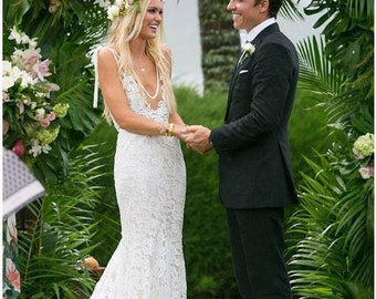 389c47d9276c2 Evelyn' Stunning Bohemian Princess Lace Mermaid Style Wedding Dress with  Sweep Train