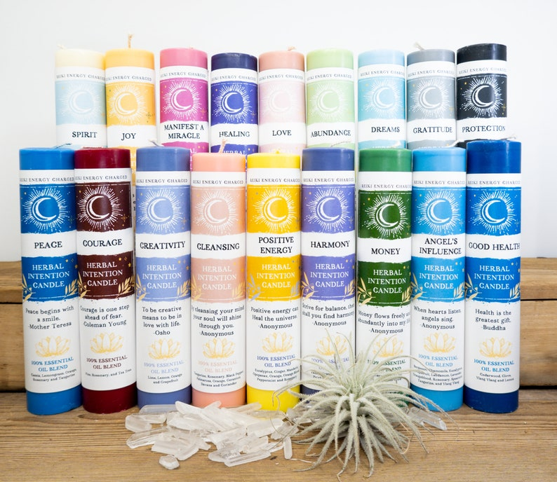 INTENTION Candles | Herbal Scented Candles | Manifestation Candles | Reiki Charged Candles