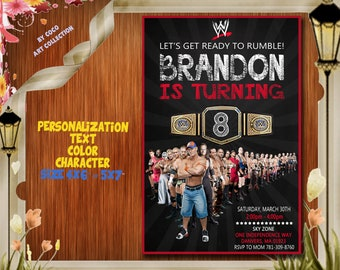 WWE Invitation Wwe Birthday Party Invite Card Wrestling