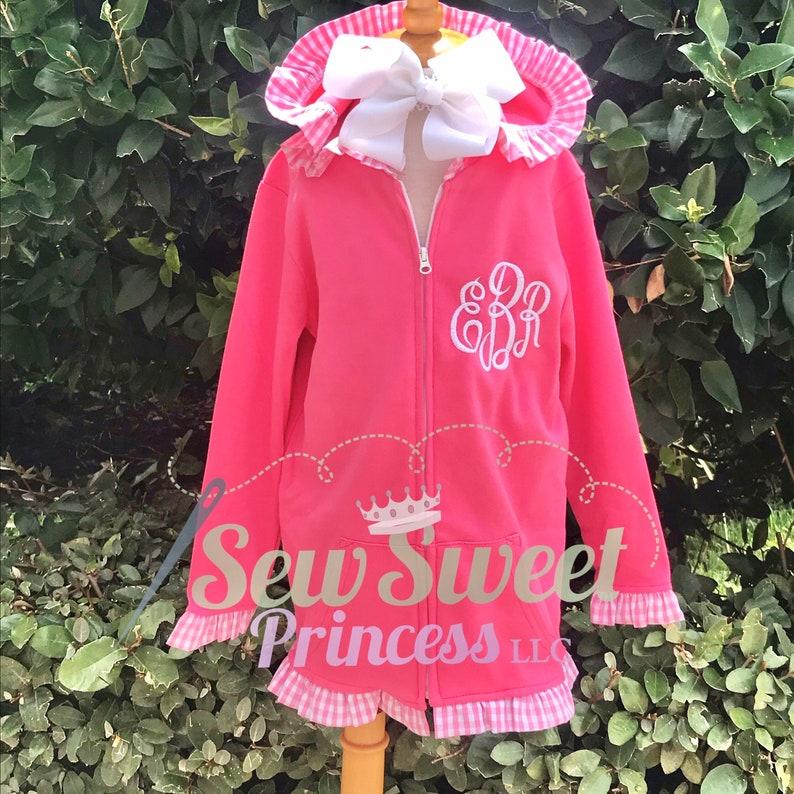 Girls MONOGRAM Gingham Ruffle Hoodie Birthday School Lightweight Jacket Easter Vacation Winter Spring Coat