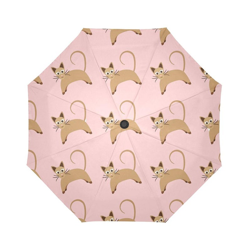 Waterproof Anti UV Protection Cute Cat Umbrellas Automatic Foldable Umbrella Brown Cartoon Cats On Pink Umbrella