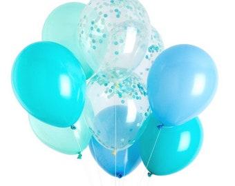 Warm mint, light blue and caribbean blue Balloons