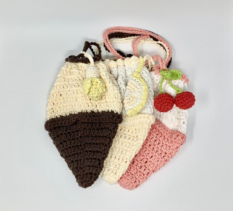 Crochet Ice cream Purse Crochet Bag Crochet Ice Cream  Bag Crochet Coin Purse