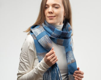 97e35f122 Blue turquoise warm merino wool scarf for men and women.